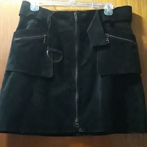 Black Suede Skirt with pockets